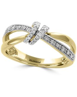 14k Yellow Gold Studded Knot Ring With 0.17 Tcw Diamonds