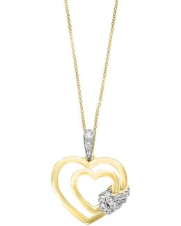 14k Yellow Gold Double Heart Pendant Necklace With 0.1 Tcw Diamonds