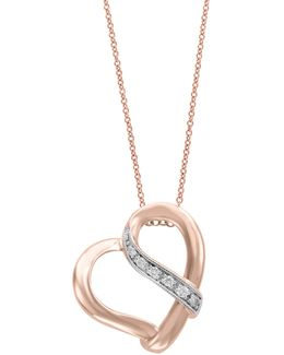 14k Rose Gold Heart Pendant Necklace With 0.05 Tcw Diamonds