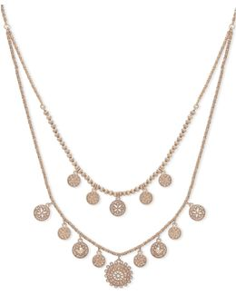 Faux Pearl Two-row Pendant Necklace