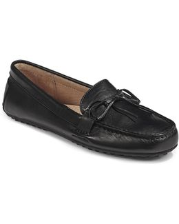 Womens Stirrup Trim Leather Loafers