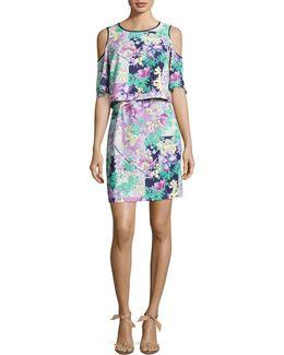 Printed Cold-shoulder Dress