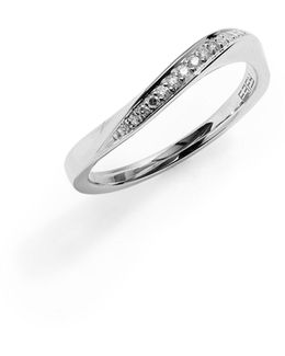 14k White Gold Wavy Ring With 0.08 Tcw Diamonds