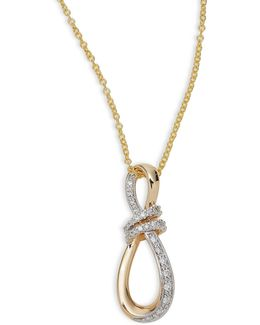 14k Yellow Gold Knot Pendant Necklace With 0.14 Tcw Diamonds