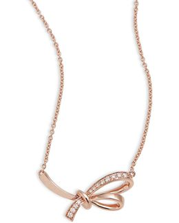 14k Rose Gold Knot Pendant Necklace With 0.07 Tcw Diamonds