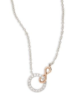 14k White Gold, Rose Gold Circle Pendant Necklace With 0.21 Tcw Diamonds
