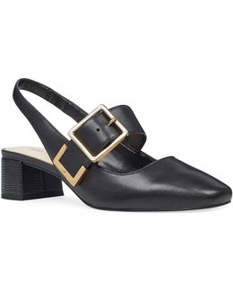Buckle Top Leather Pumps
