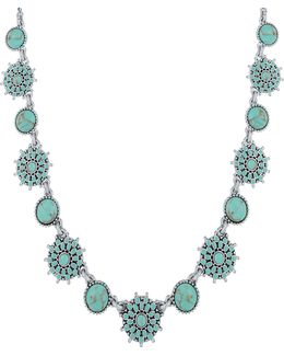 Turquoise Crystal And Calcite Collar Necklace