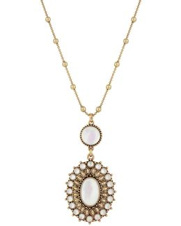Crystal, Calcite & Mother-of-pearl Pendant Necklace