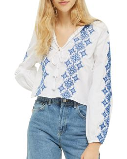 Embroidered Pom-pom Smock Top