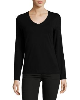 Long Sleeve V-neck Cotton T-shirt