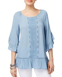 Ruffled Lace-trim Top