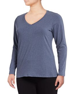 Plus Long Sleeve V-neck T-shirt