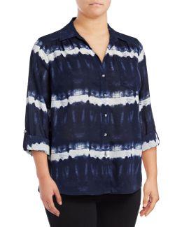 Plus Tie-dyed Roll-tab Shirt
