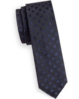 Silk Tonal Star Print Tie