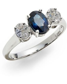 14k White Gold Ring With Sapphire And 0.24 Tcw Diamonds
