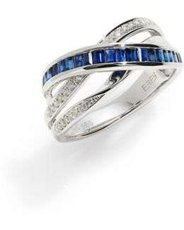 14k White Gold Ring With Sapphire And 0.14 Tcw Diamonds