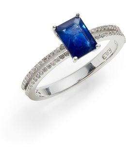 14k White Gold Ring With Sapphire And 0.18 Tcw Diamonds