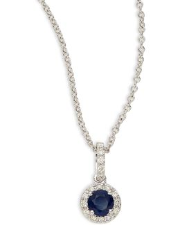 14k White Gold Pendant Necklace With Sapphire And 0.11 Tcw Diamonds