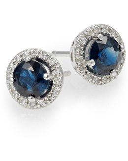 14k White Diamond Earrings With Sapphire And 0.13 Tcw Diamonds