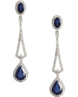 14k White Diamond Drop Earrings With Sapphire And 0.13 Tcw Diamonds