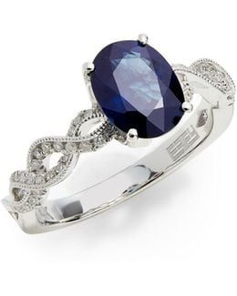 14k White Gold Ring With Sapphire And 0.21 Tcw Diamonds
