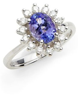 14k White Gold Ring With Tanzanite And 0.34 Tcw Diamonds