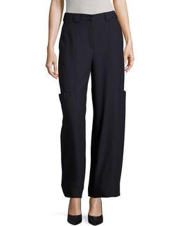 Micro-pattern Wool Pants