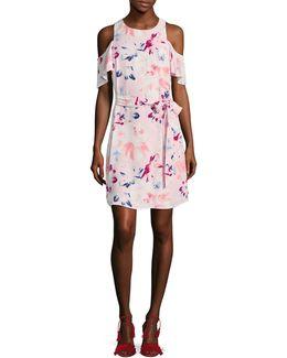 Floral-printed Cold-shoulder Dress