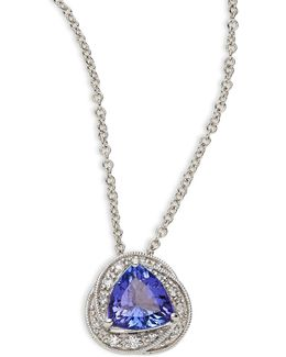 14k White Gold Pendant Necklace With Tanzanite And 0.08tcw Diamonds