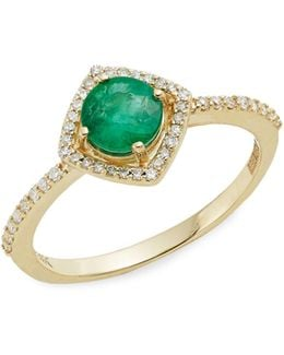 14k Yellow Gold Emerald And 0.16tcw Diamond Ring