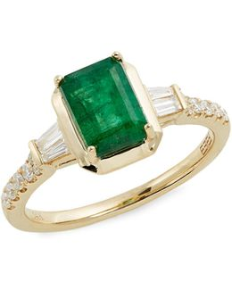 14k Yellow Gold Emerald And 0.24tcw Diamond Ring