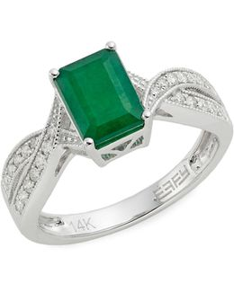 14k White Gold Emerald And 0.21tcw Diamond Twist Ring
