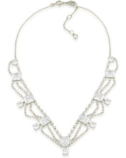Silver-tone Cubic Zirconia Statement Necklace