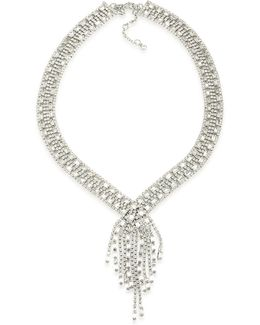 Silver-tone Pavé Wide Lariat Necklace