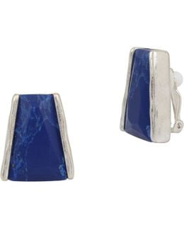 Something Blue Lapis Clip Earrings