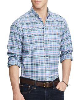 Slim-fit Checked Stretch Oxford Shirt