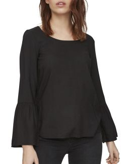 Round Neck Long Bell Sleeve Top