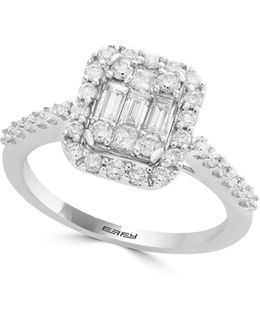 14k White Gold Solitaire Ring With 0.74 Tcw Diamonds