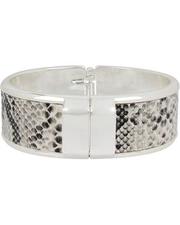Leather Items Silvertone Snakeskin Hinged Bangle Bracelet
