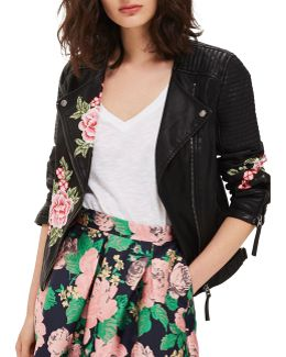 Luna Floral Applique Biker Jacket
