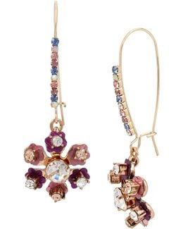 Brooklyn Goldtone Multi-stone Flower Drop Earrings