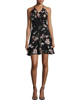 Ruffle Faux Wrap Floral Dress