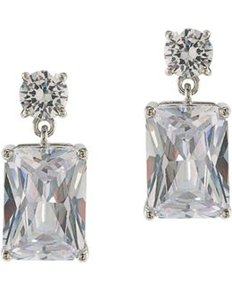 Glass Ceiling Silvertone Double Drop Pierced Earrings