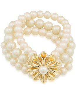 Faux Pearl Three-row Stretch Pearl Glam Bracelet