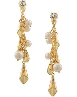 Pearl Glam Faux Pearl Goldtone Cluster Earrings