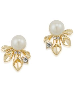 Pearl Glam Faux Peal Goldtone Earrings