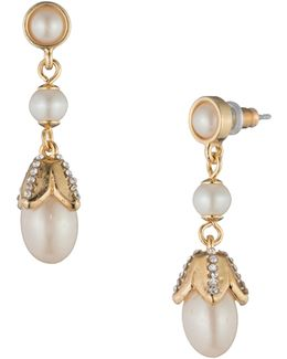 Pearl Glam Faux Pearl Goldtone Drop Earrings