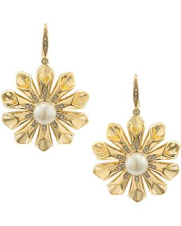 Pearl Glam Faux Pearl Goldtone Floral Burst Earrings
