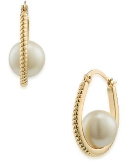 Pearl Glam Faux Pearl Goldtone Rope Hoop Earrings